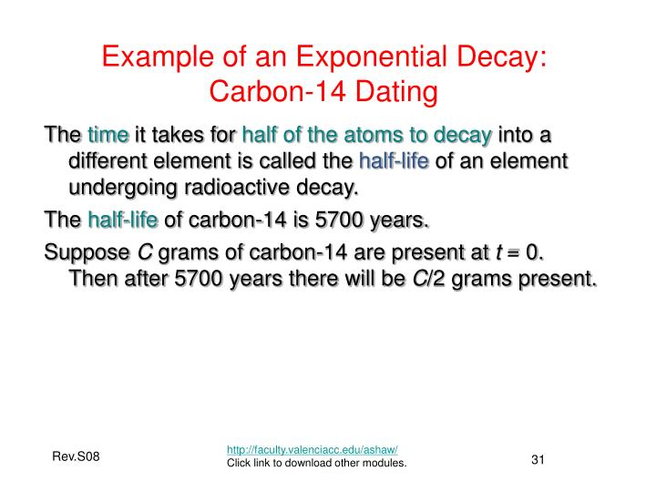 Example of an Exponential Decay: Carbon-14 Dating
