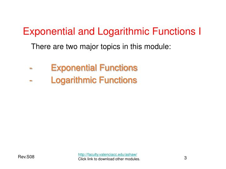 Exponential and logarithmic functions i