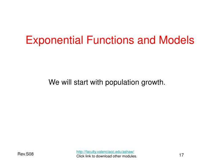 Exponential Functions and Models