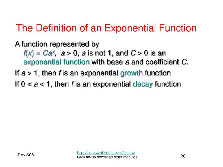 The Definition of an Exponential Function