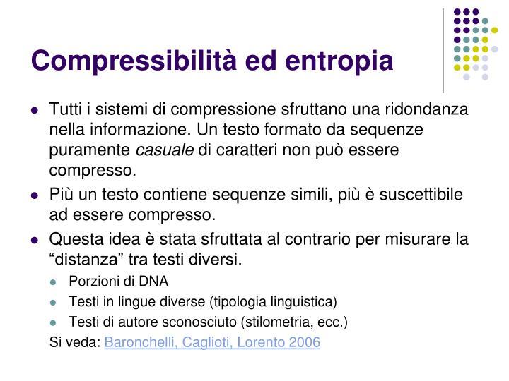 Compressibilità ed entropia