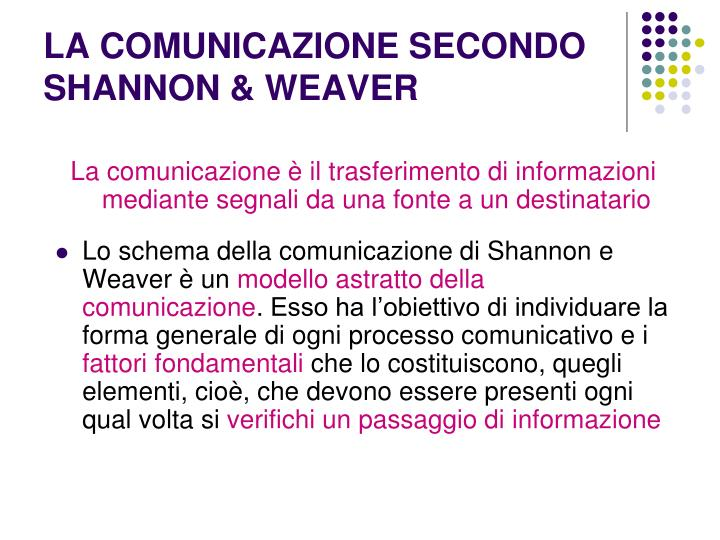LA COMUNICAZIONE SECONDO SHANNON & WEAVER