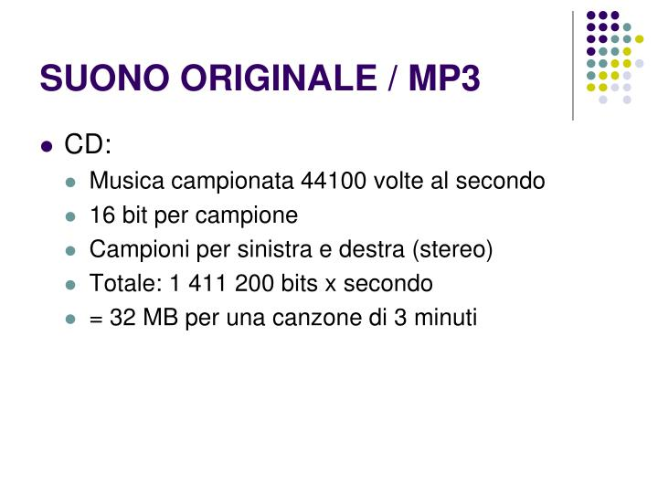 SUONO ORIGINALE / MP3