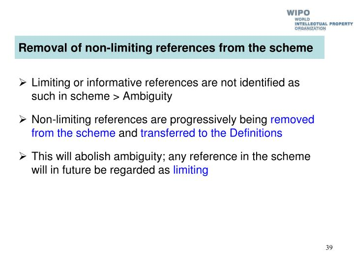 Removal of non-limiting references from the scheme