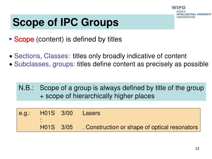 Scope of IPC Groups