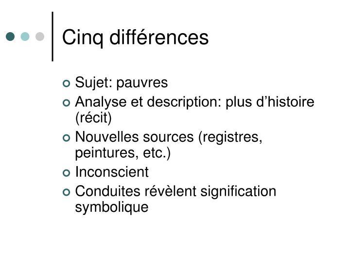 Cinq différences