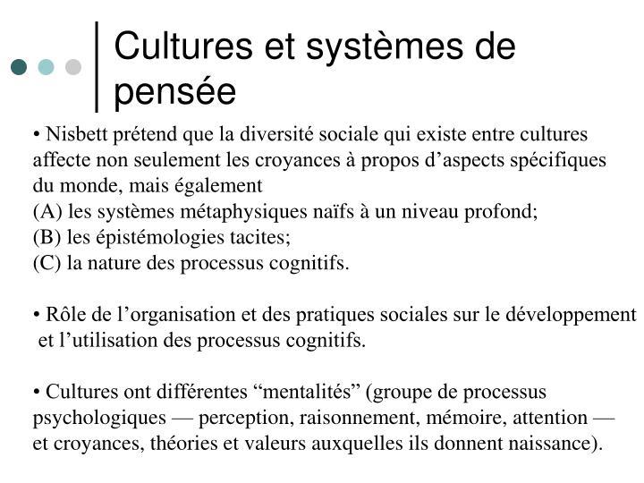 Cultures et systèmes de pensée