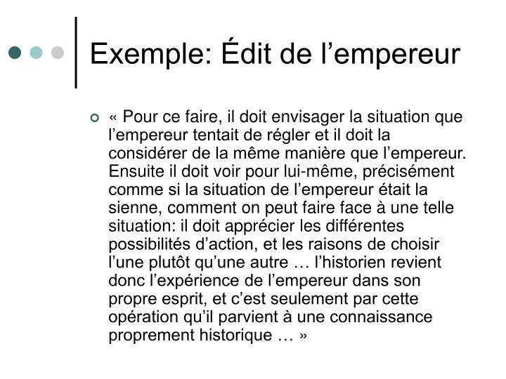 Exemple: Édit de l'empereur