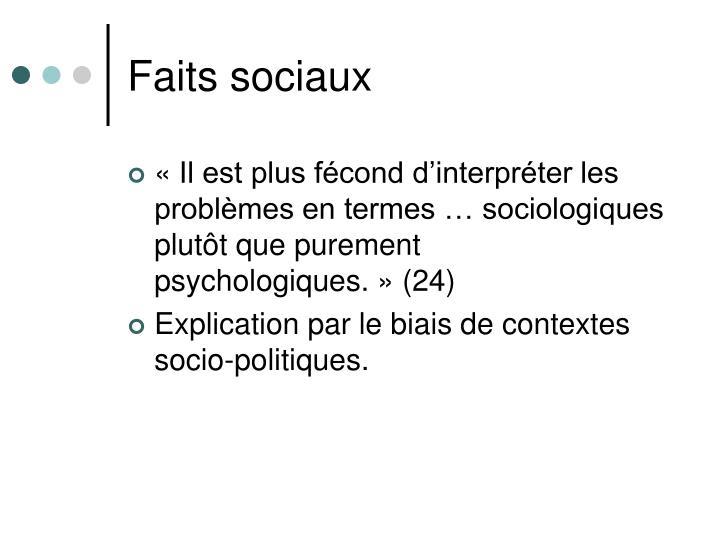 Faits sociaux