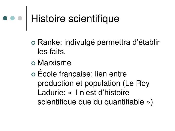 Histoire scientifique