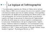 la logique et l ethnographie