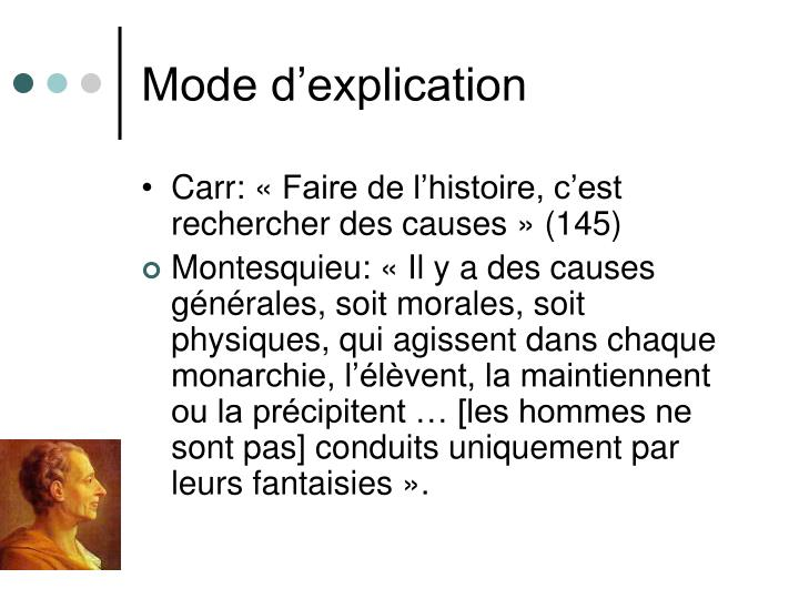 Mode d'explication