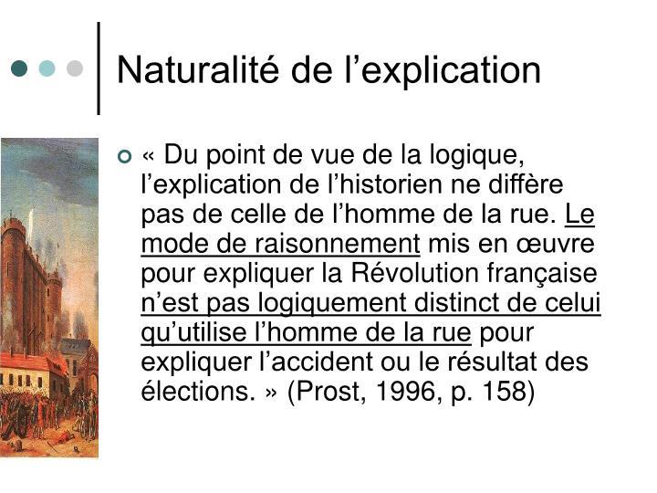 Naturalité de l'explication