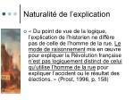 naturalit de l explication