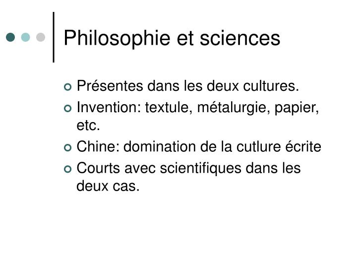 Philosophie et sciences