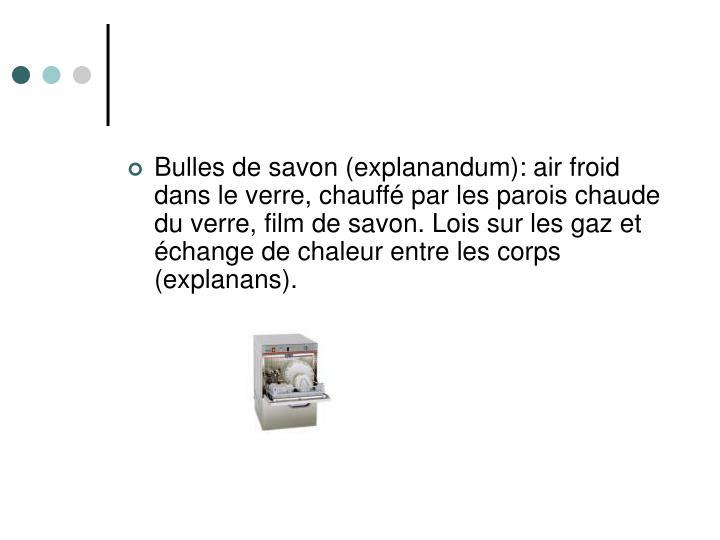 Bulles de savon (explanandum): air froid dans le verre, chauffé par les parois chaude du verre, film de savon. Lois sur les gaz et échange de chaleur entre les corps (explanans).