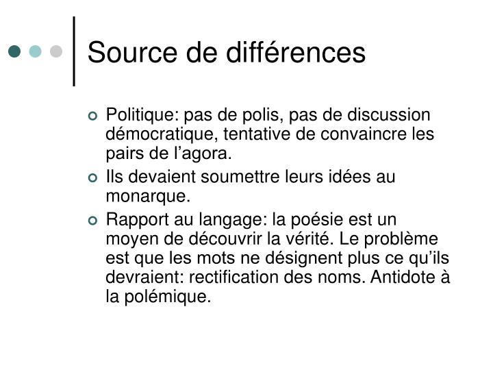 Source de différences