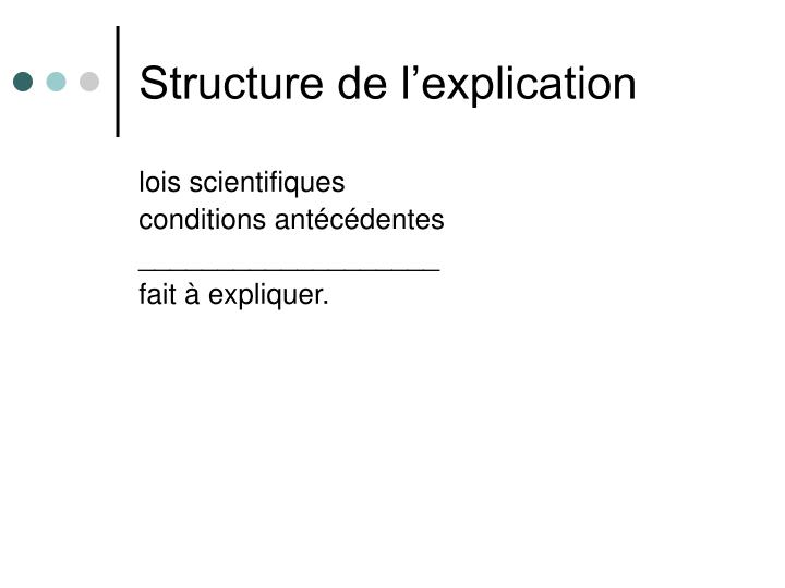 Structure de l'explication