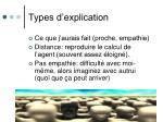 types d explication