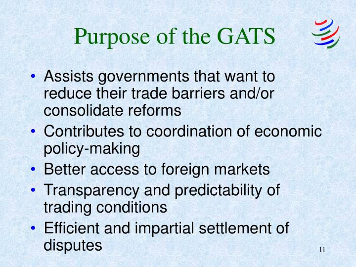 Purpose of the GATS