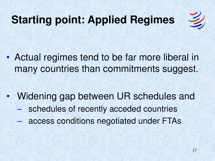Starting point: Applied Regimes