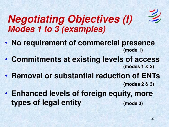 Negotiating Objectives (I)