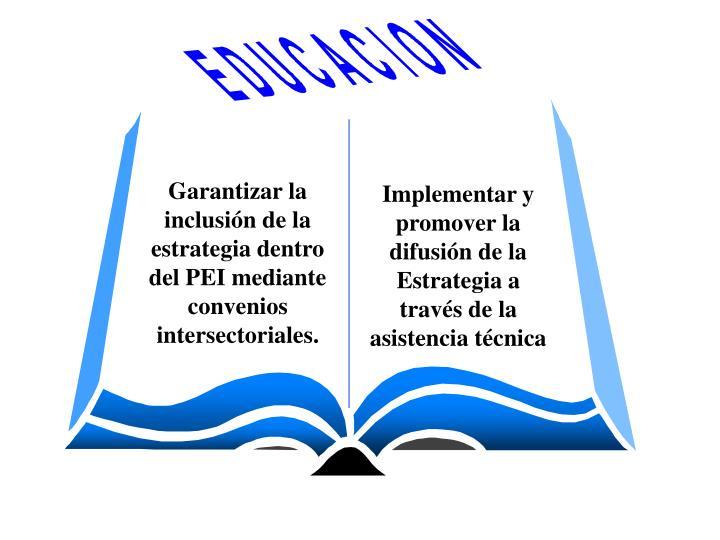 Garantizar la inclusión de la estrategia dentro del PEI mediante convenios  intersectoriales.
