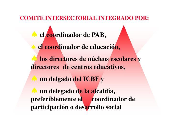 COMITE INTERSECTORIAL INTEGRADO POR: