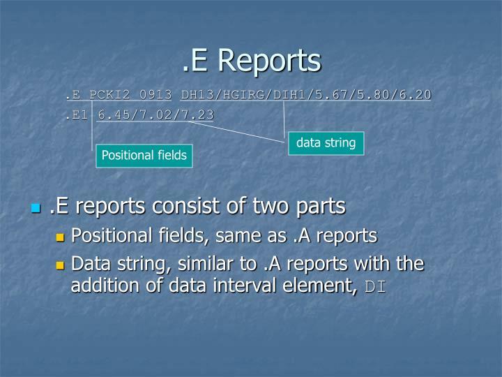 .E Reports