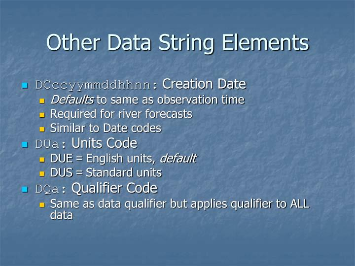 Other Data String Elements