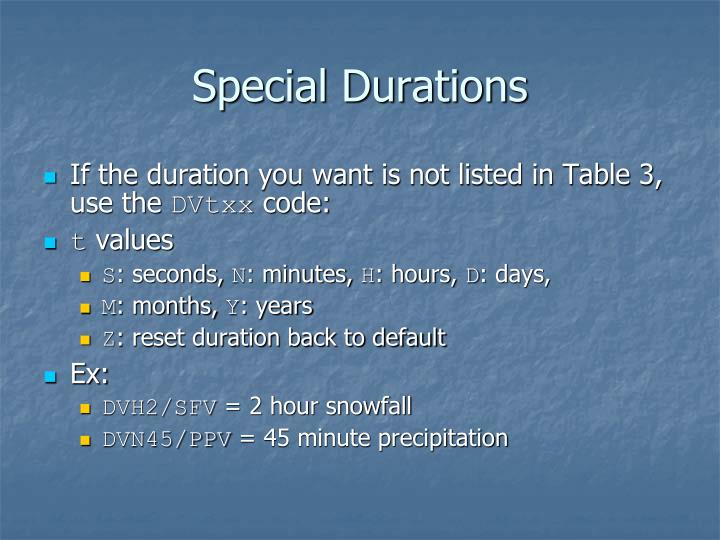 Special Durations