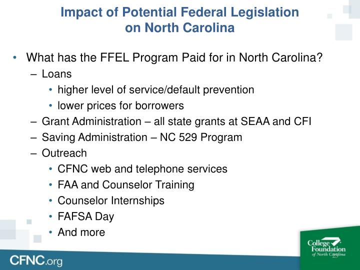 Impact of Potential Federal Legislation