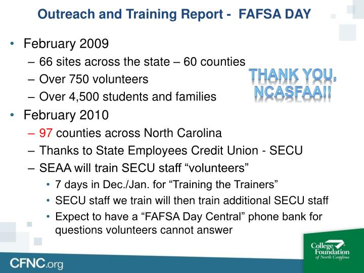 Outreach and Training Report -  FAFSA DAY