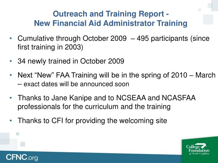Outreach and Training Report -