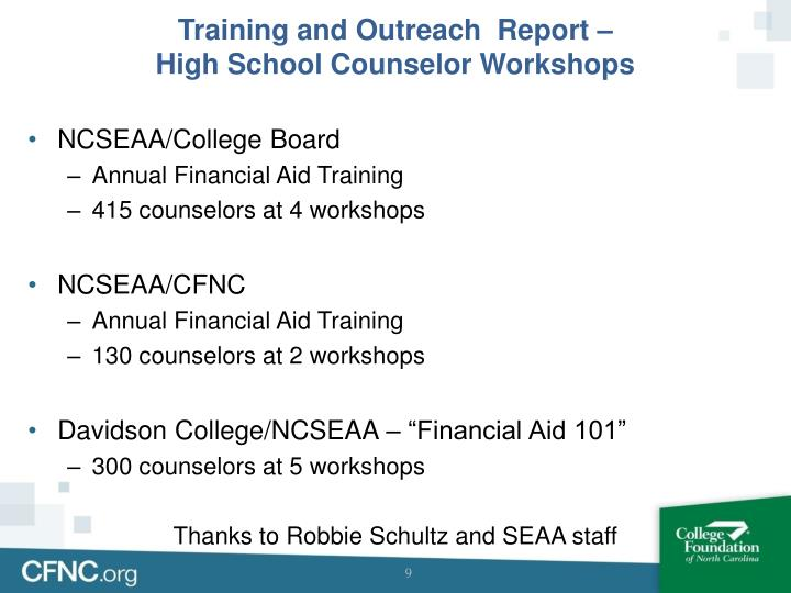 Training and Outreach  Report –