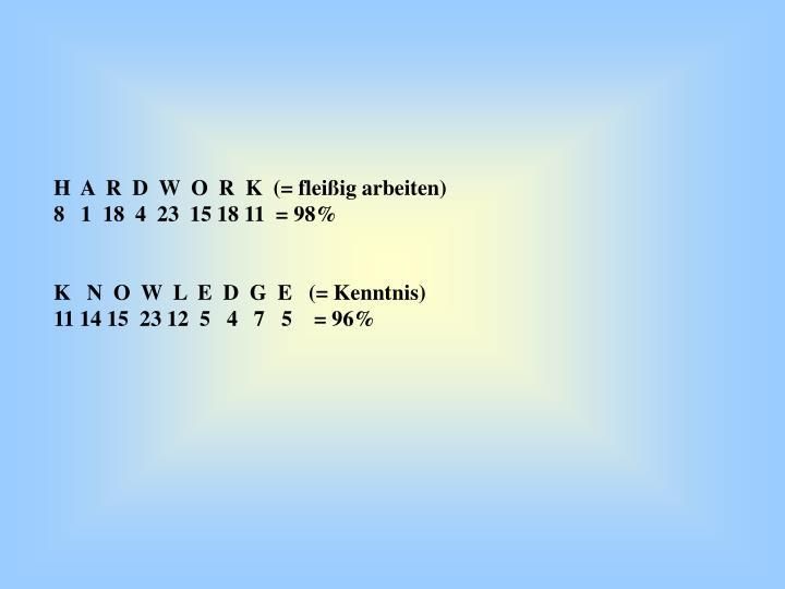 H  A  R  D  W  O  R  K  (= fleißig arbeiten)