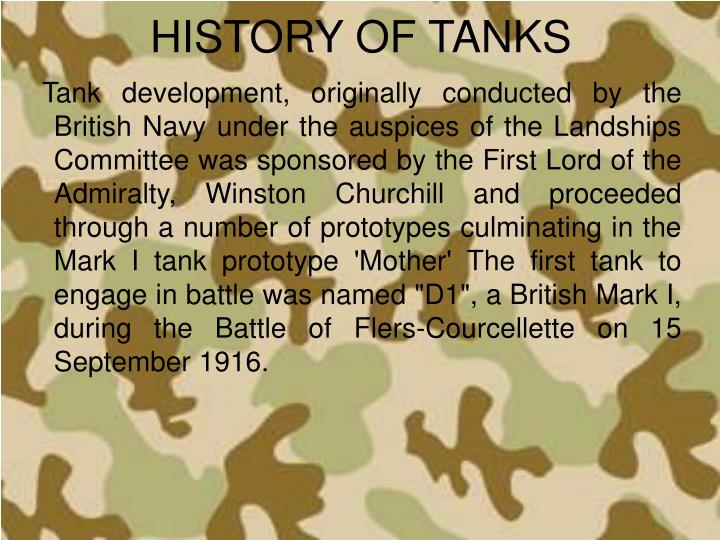 HISTORY OF TANKS
