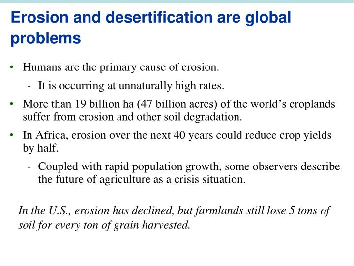 Erosion and desertification are global problems