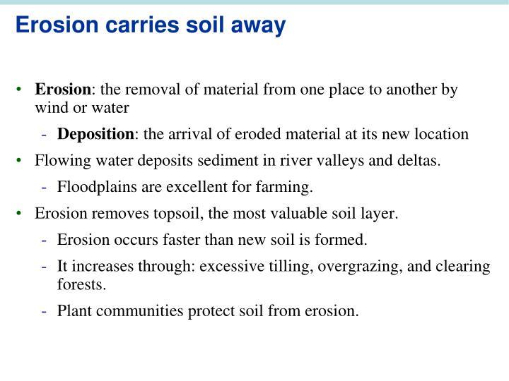 Erosion carries soil away