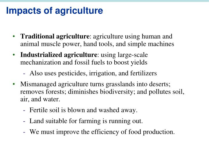 Impacts of agriculture