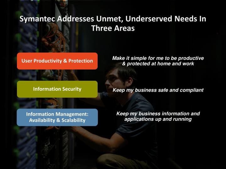 Symantec Addresses Unmet, Underserved Needs In Three Areas