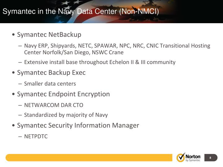 Symantec in the Navy Data Center (Non-NMCI)
