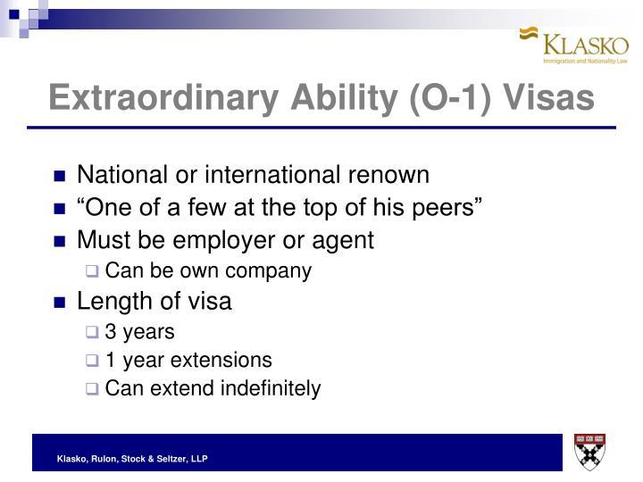 Extraordinary Ability (O-1) Visas