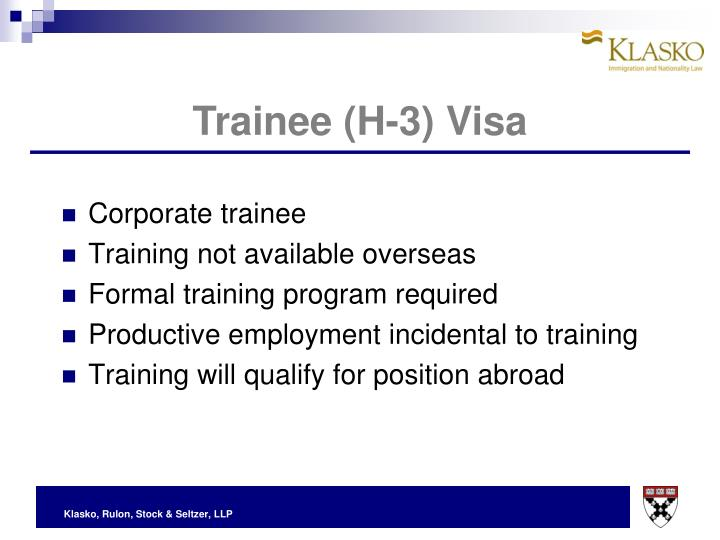 Trainee (H-3) Visa