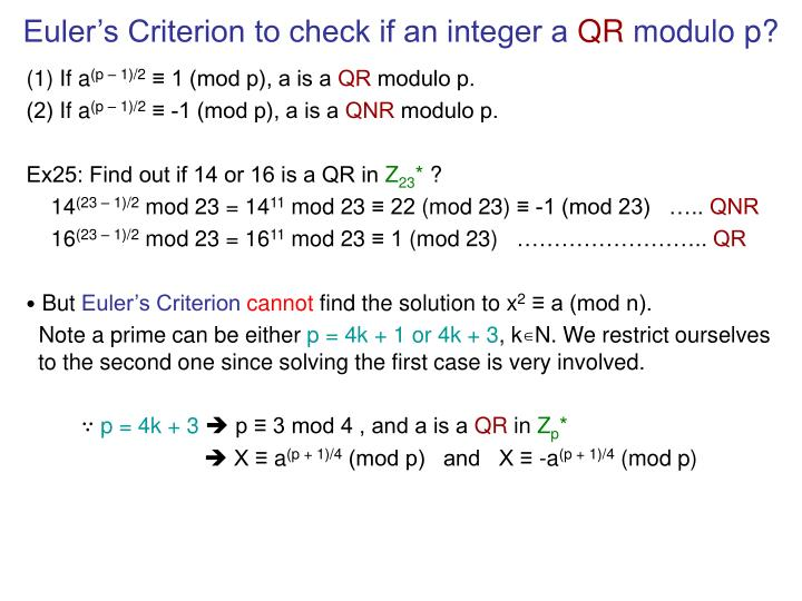 Euler's Criterion to check if an integer a