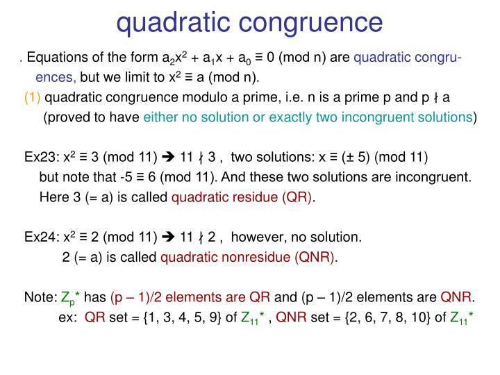 quadratic congruence