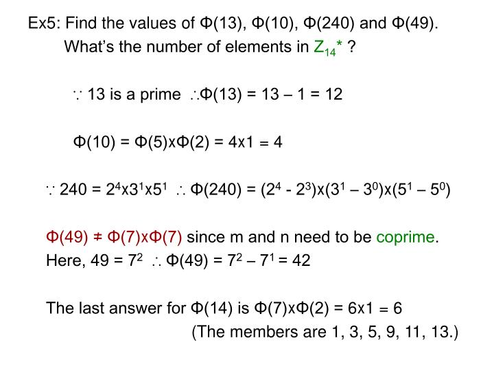 Ex5: Find the values of