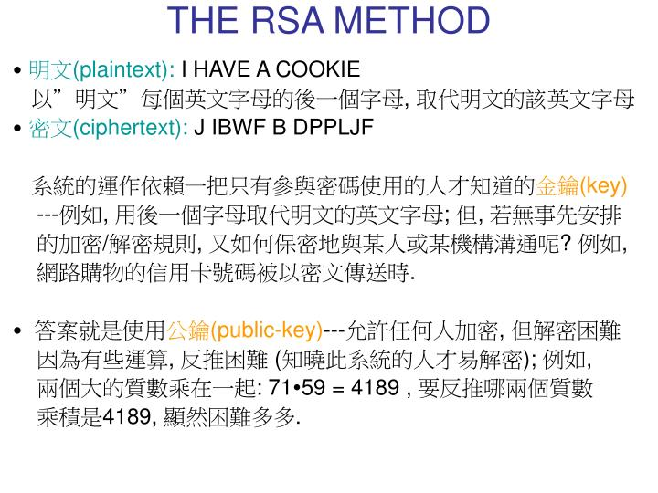 THE RSA METHOD