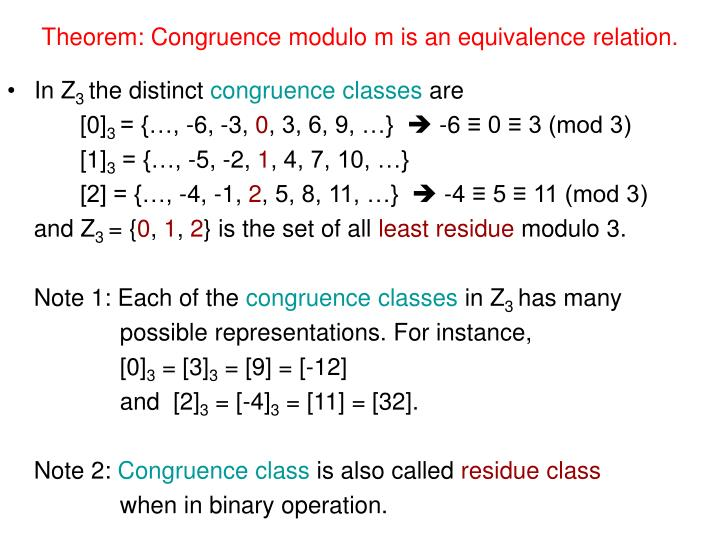 Theorem: Congruence modulo m is an equivalence relation.