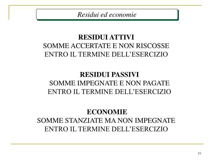 Residui ed economie